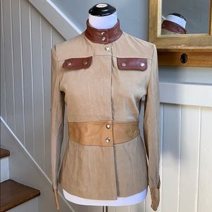 DKNY Tan Jacket with BrownLeather Accents